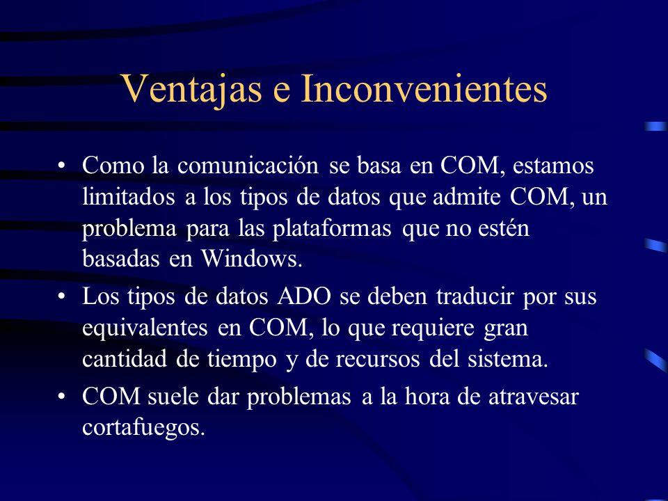 Ventajas e Inconvenientes Como la comunicación se basa en COM, estamos limitados a los tipos de datos que admite COM, un problema para las plataformas