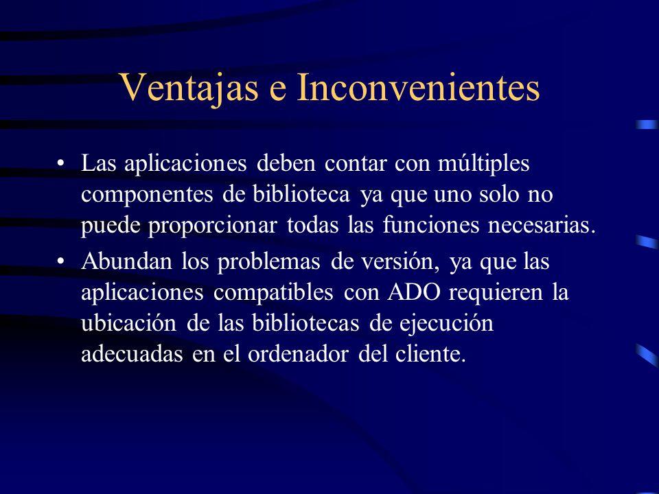 Ventajas e Inconvenientes Las aplicaciones deben contar con múltiples componentes de biblioteca ya que uno solo no puede proporcionar todas las funcio