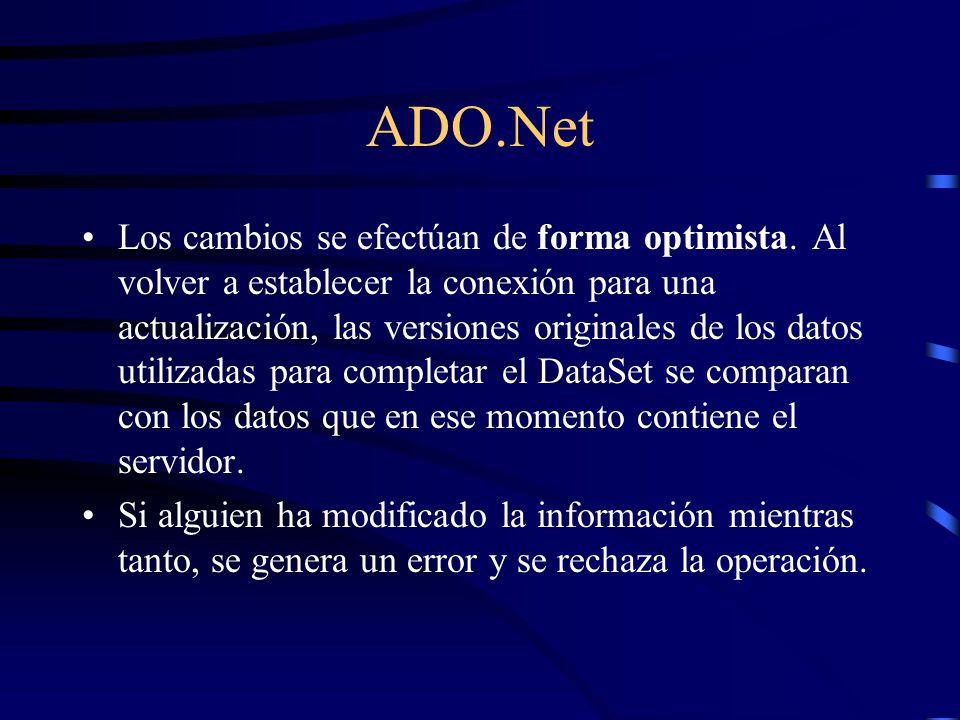 ADO.Net Los cambios se efectúan de forma optimista. Al volver a establecer la conexión para una actualización, las versiones originales de los datos u