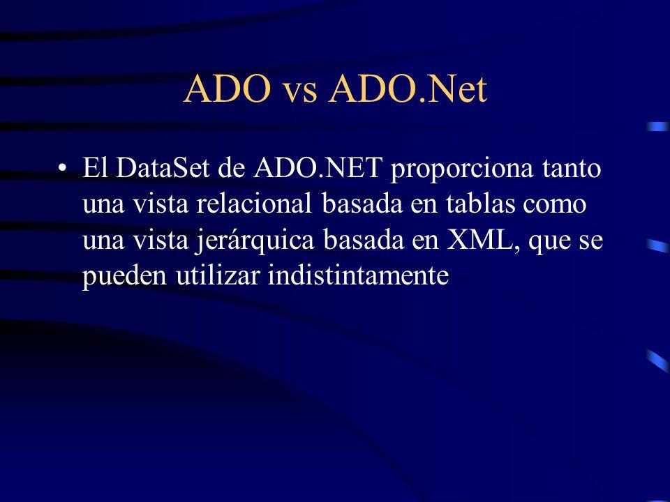ADO vs ADO.Net El DataSet de ADO.NET proporciona tanto una vista relacional basada en tablas como una vista jerárquica basada en XML, que se pueden ut
