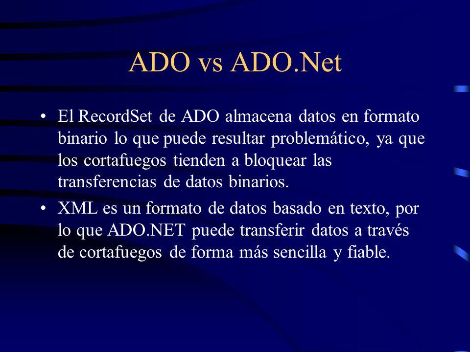 ADO vs ADO.Net El RecordSet de ADO almacena datos en formato binario lo que puede resultar problemático, ya que los cortafuegos tienden a bloquear las