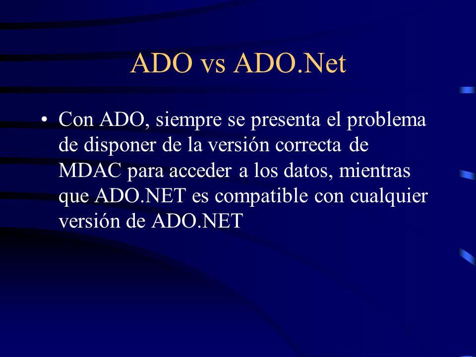 ADO vs ADO.Net Con ADO, siempre se presenta el problema de disponer de la versión correcta de MDAC para acceder a los datos, mientras que ADO.NET es c