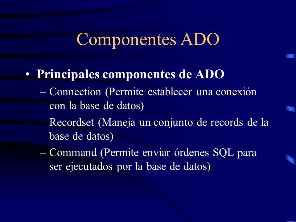 Componentes ADO Principales componentes de ADO –Connection (Permite establecer una conexión con la base de datos) –Recordset (Maneja un conjunto de re