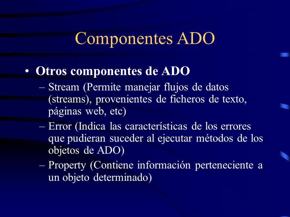 Componentes ADO Otros componentes de ADO –Stream (Permite manejar flujos de datos (streams), provenientes de ficheros de texto, páginas web, etc) –Err