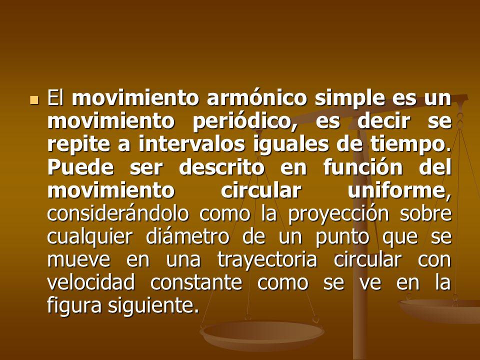 El movimiento armónico simple es un movimiento periódico, es decir se repite a intervalos iguales de tiempo. Puede ser descrito en función del movimie