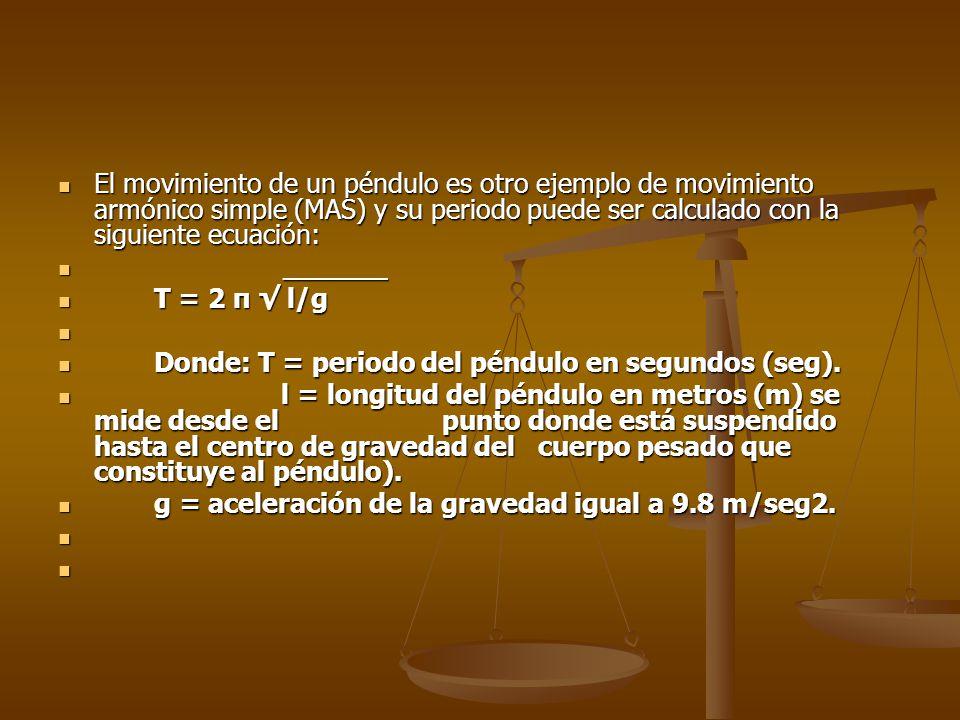 El movimiento de un péndulo es otro ejemplo de movimiento armónico simple (MAS) y su periodo puede ser calculado con la siguiente ecuación: El movimie