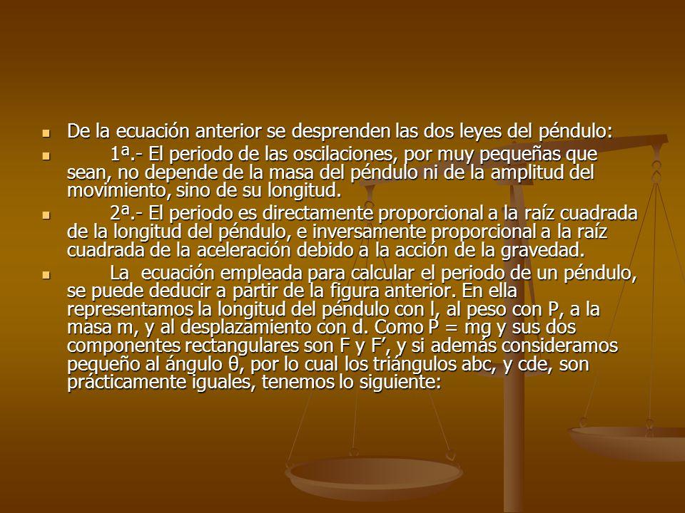 De la ecuación anterior se desprenden las dos leyes del péndulo: De la ecuación anterior se desprenden las dos leyes del péndulo: 1ª.- El periodo de l