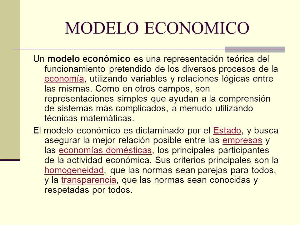 MODELO ECONOMICO Un modelo económico es una representación teórica del funcionamiento pretendido de los diversos procesos de la economía, utilizando v