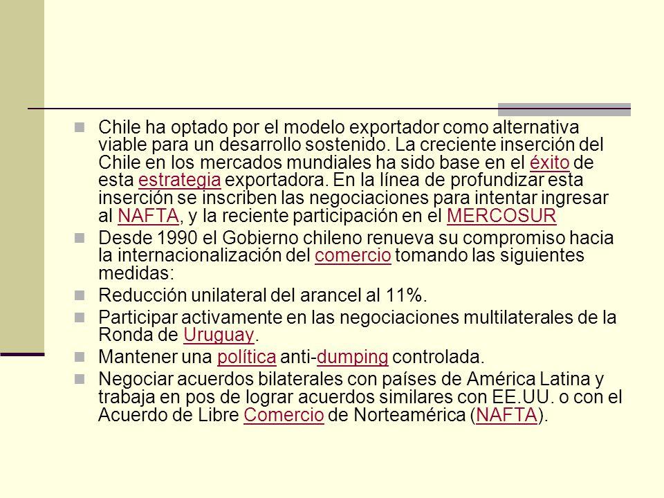 Chile ha optado por el modelo exportador como alternativa viable para un desarrollo sostenido. La creciente inserción del Chile en los mercados mundia