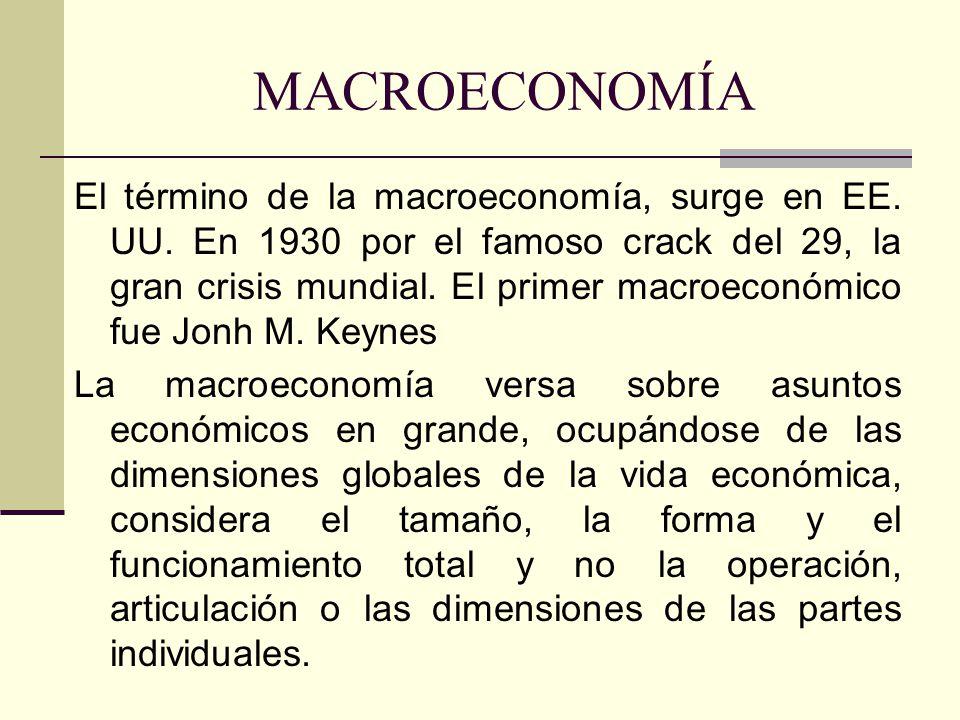 MACROECONOMÍA El término de la macroeconomía, surge en EE. UU. En 1930 por el famoso crack del 29, la gran crisis mundial. El primer macroeconómico fu