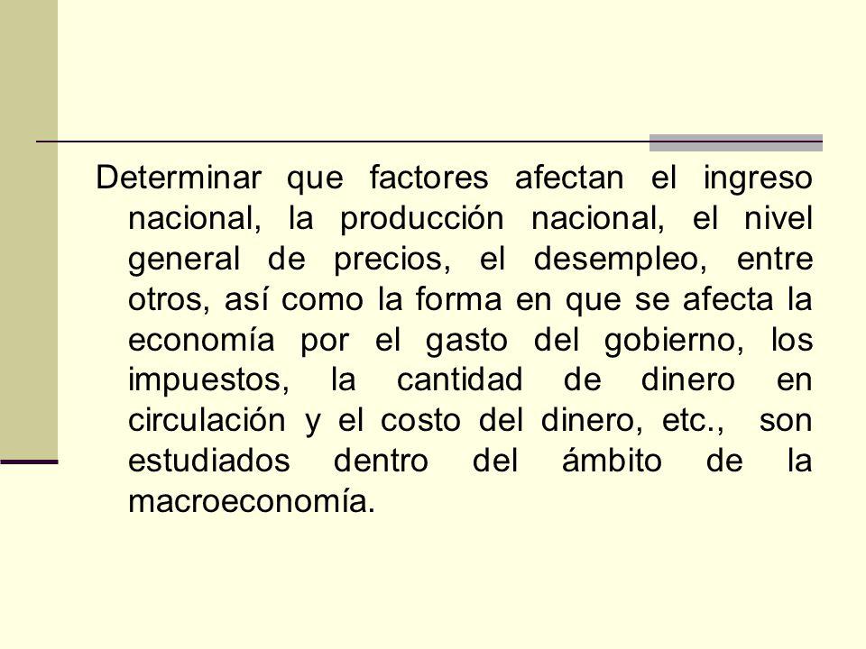Determinar que factores afectan el ingreso nacional, la producción nacional, el nivel general de precios, el desempleo, entre otros, así como la forma