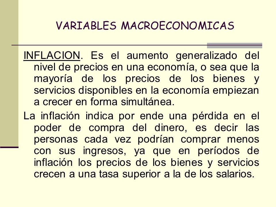 VARIABLES MACROECONOMICAS INFLACION. Es el aumento generalizado del nivel de precios en una economía, o sea que la mayoría de los precios de los biene