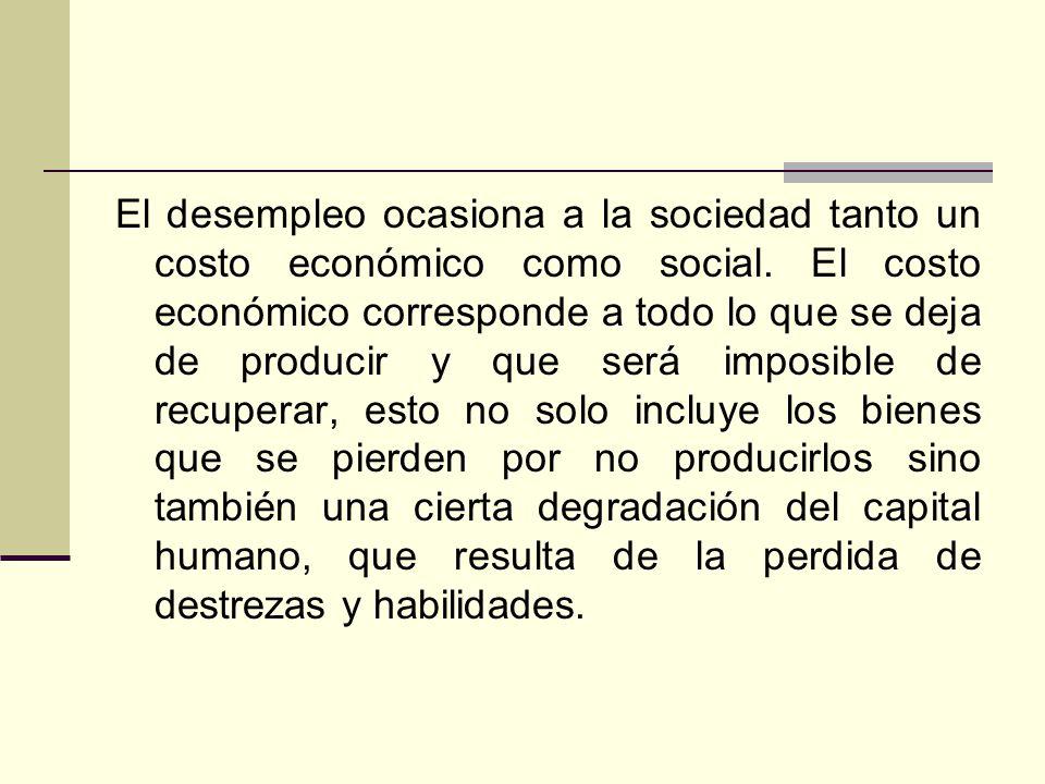 El desempleo ocasiona a la sociedad tanto un costo económico como social. El costo económico corresponde a todo lo que se deja de producir y que será