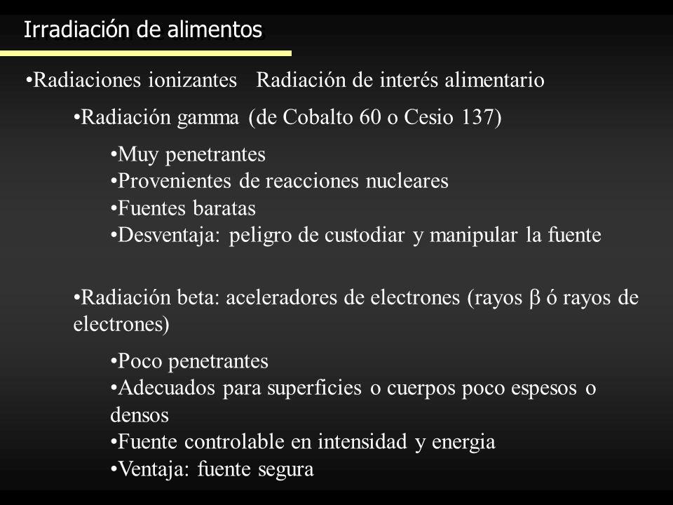 Irradiación de alimentos Radiaciones ionizantesRadiación de interés alimentario Radiación gamma (de Cobalto 60 o Cesio 137) Muy penetrantes Provenient