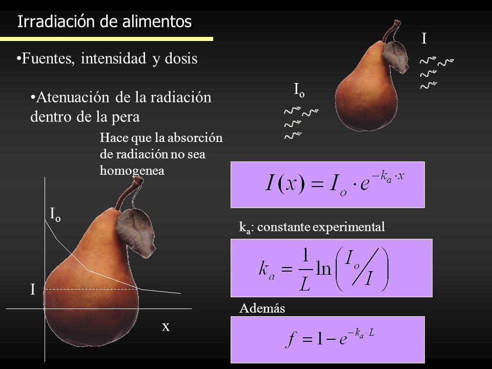 Irradiación de alimentos Fuentes, intensidad y dosis IoIo I Atenuación de la radiación dentro de la pera Hace que la absorción de radiación no sea hom