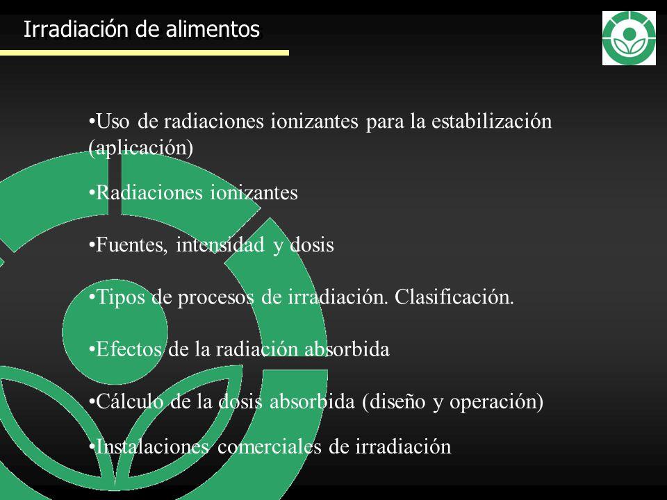 Irradiación de alimentos Uso de radiaciones ionizantes para la estabilización (aplicación) Radiaciones ionizantes Tipos de procesos de irradiación. Cl