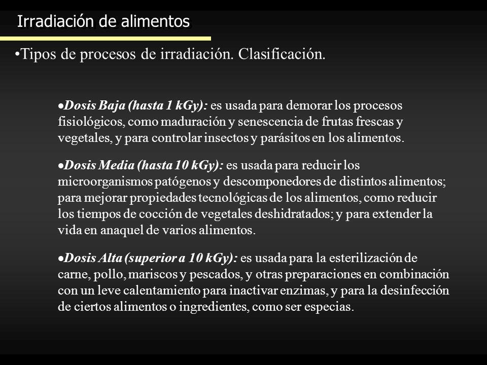 Irradiación de alimentos Tipos de procesos de irradiación. Clasificación. Dosis Baja (hasta 1 kGy): es usada para demorar los procesos fisiológicos, c
