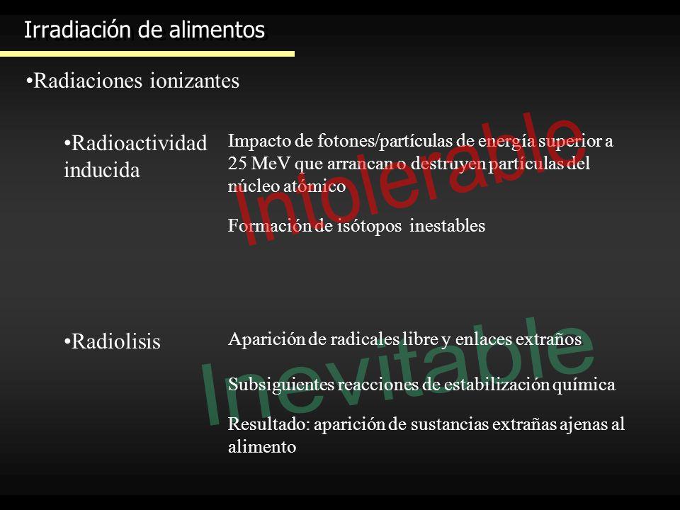 Irradiación de alimentos Radiaciones ionizantes Radioactividad inducida Impacto de fotones/partículas de energía superior a 25 MeV que arrancan o dest