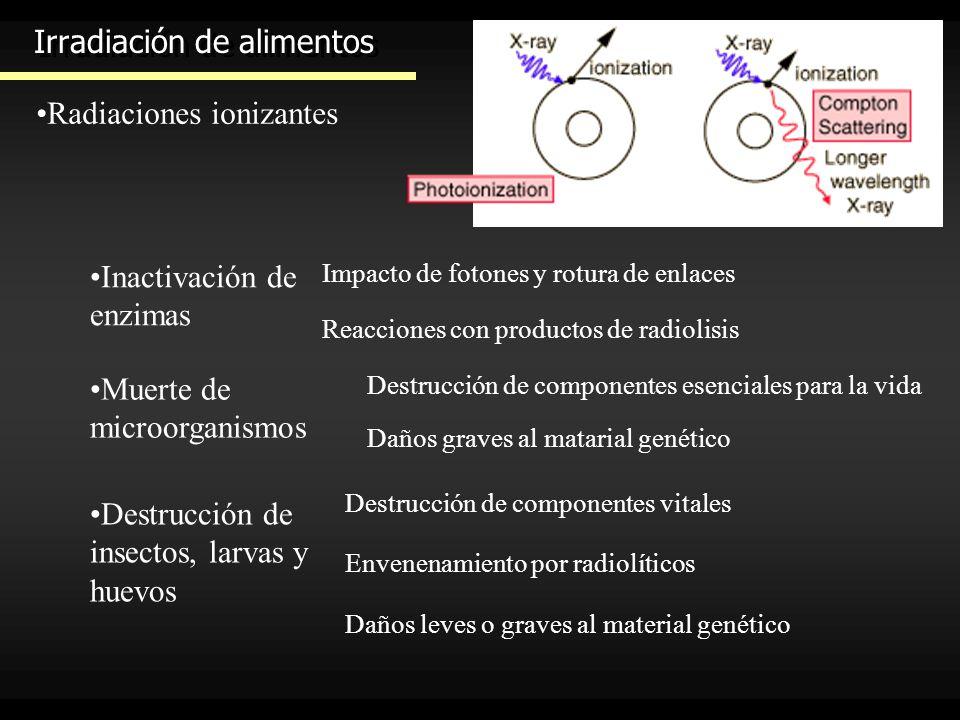 Irradiación de alimentos Radiaciones ionizantes Rayos gamma: fotónes (sin carga ni masa) Partículas beta: electrones a gran velocidad Partículas alfa: núcleos de helio a gran velocidad Radiación de energía elevada