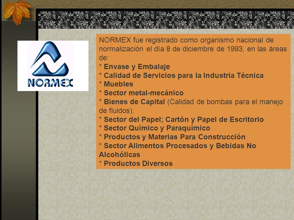 NORMEX fue registrado como organismo nacional de normalización el día 8 de diciembre de 1993, en las áreas de: * Envase y Embalaje * Calidad de Servic