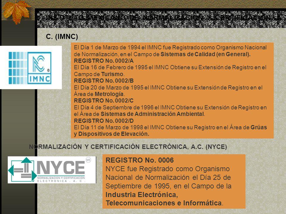INSTITUTO MEXICANO DE NORMALIZACIÓN Y CERTIFICACIÓN, A. C. (IMNC) El Día 1 de Marzo de 1994 el IMNC fue Registrado como Organismo Nacional de Normaliz