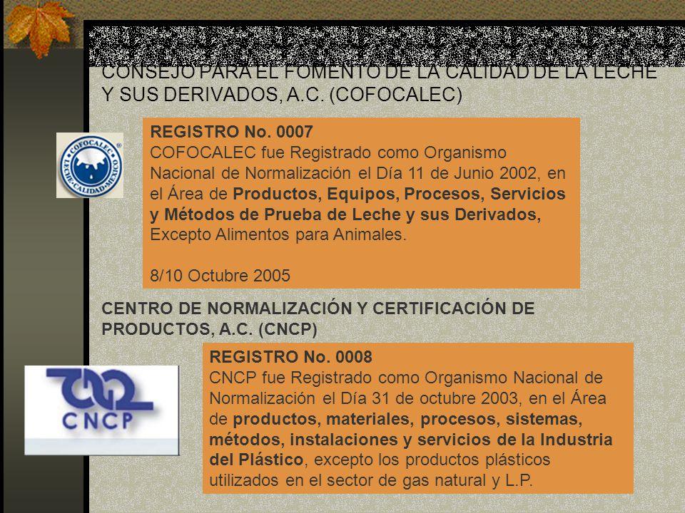 CONSEJO PARA EL FOMENTO DE LA CALIDAD DE LA LECHE Y SUS DERIVADOS, A.C. (COFOCALEC) REGISTRO No. 0007 COFOCALEC fue Registrado como Organismo Nacional