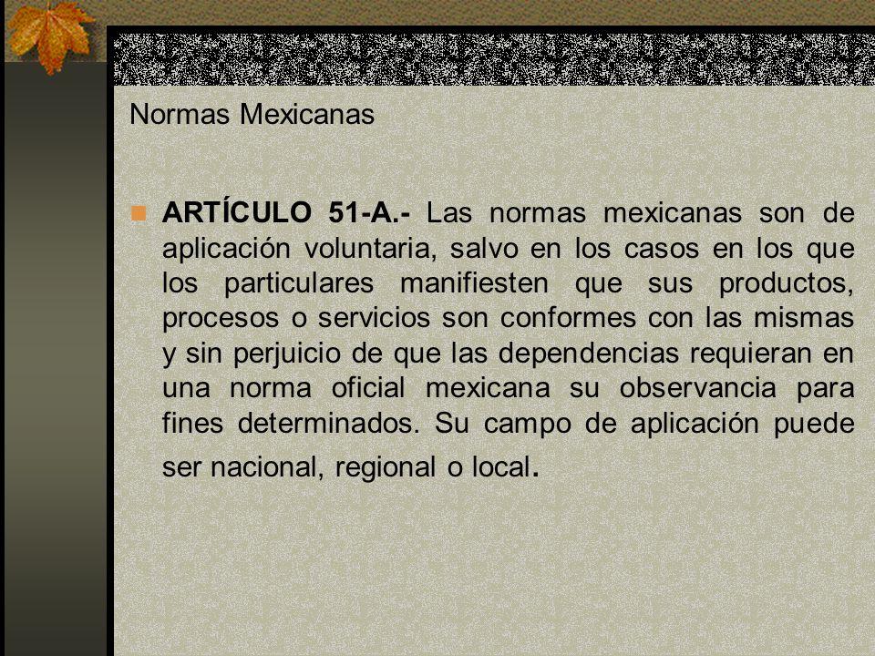 Normas Mexicanas ARTÍCULO 51-A.- Las normas mexicanas son de aplicación voluntaria, salvo en los casos en los que los particulares manifiesten que sus