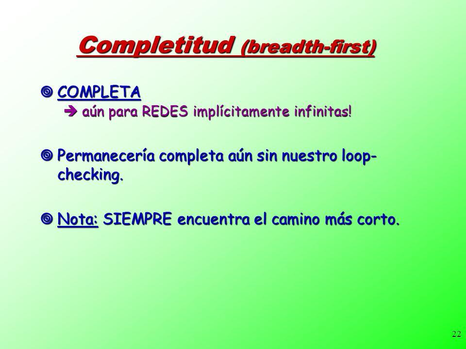 22 Completitud (breadth-first) COMPLETA COMPLETA aún para REDES implícitamente infinitas! aún para REDES implícitamente infinitas! Permanecería comple