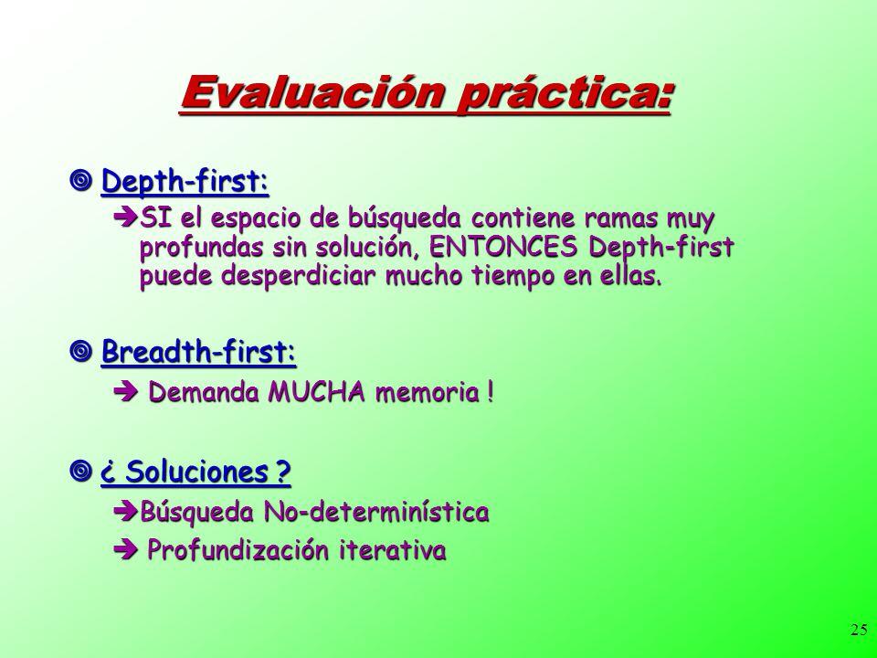 25 Evaluación práctica: Depth-first: Depth-first: SI el espacio de búsqueda contiene ramas muy profundas sin solución, ENTONCES Depth-first puede desp