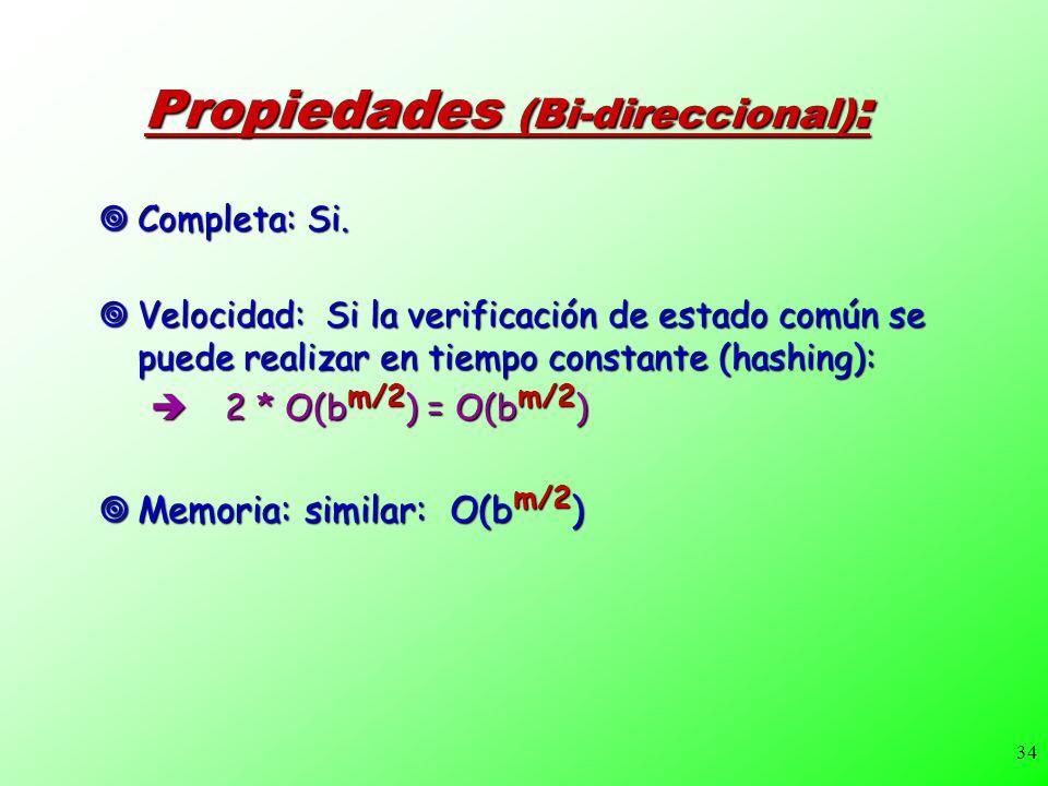 34 Propiedades (Bi-direccional) : Completa: Si. Completa: Si. Velocidad: Si la verificación de estado común se puede realizar en tiempo constante (has