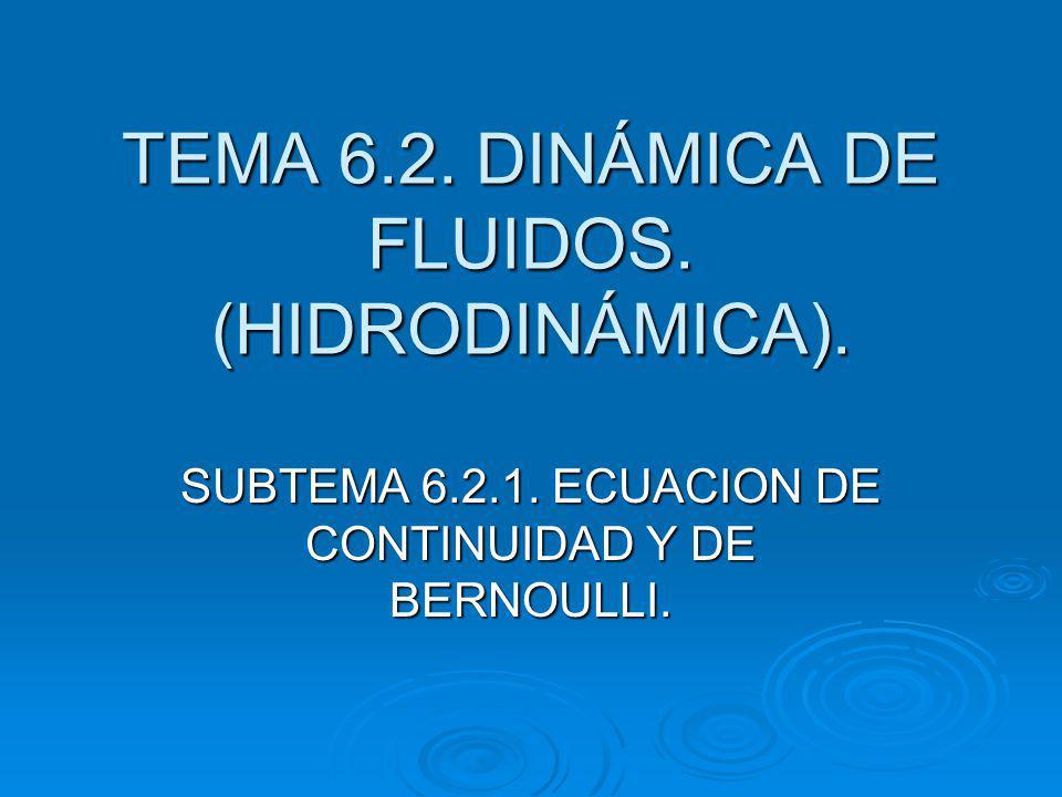 TEMA 6.2.DINÁMICA DE FLUIDOS. (HIDRODINÁMICA). SUBTEMA 6.2.1.