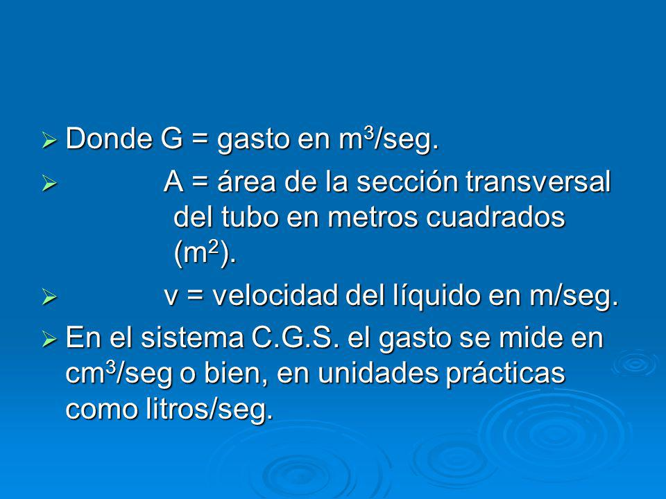 Donde G = gasto en m 3 /seg.Donde G = gasto en m 3 /seg.