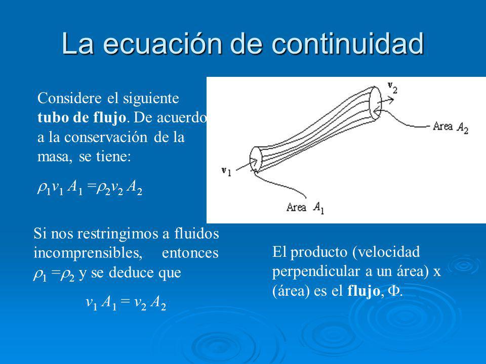 La ecuación de continuidad Considere el siguiente tubo de flujo.
