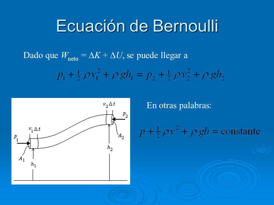 Ecuación de Bernoulli Dado que W neto = K + U, se puede llegar a En otras palabras: