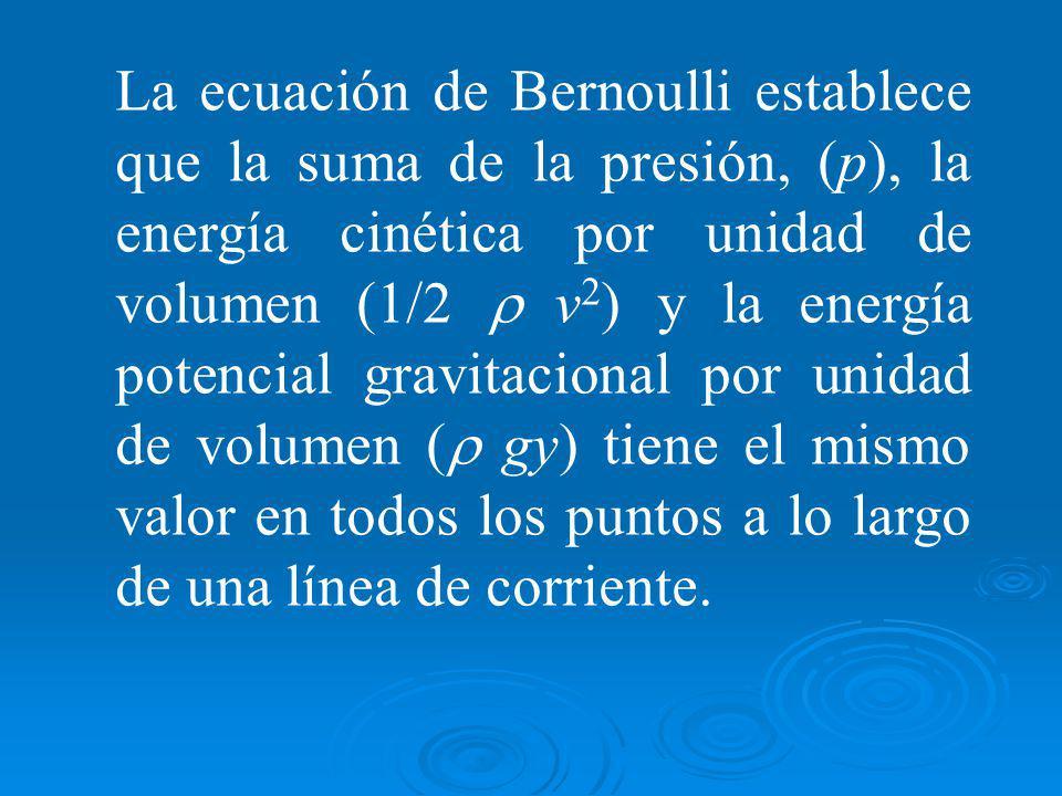 La ecuación de Bernoulli establece que la suma de la presión, (p), la energía cinética por unidad de volumen (1/2 v 2 ) y la energía potencial gravitacional por unidad de volumen ( gy) tiene el mismo valor en todos los puntos a lo largo de una línea de corriente.