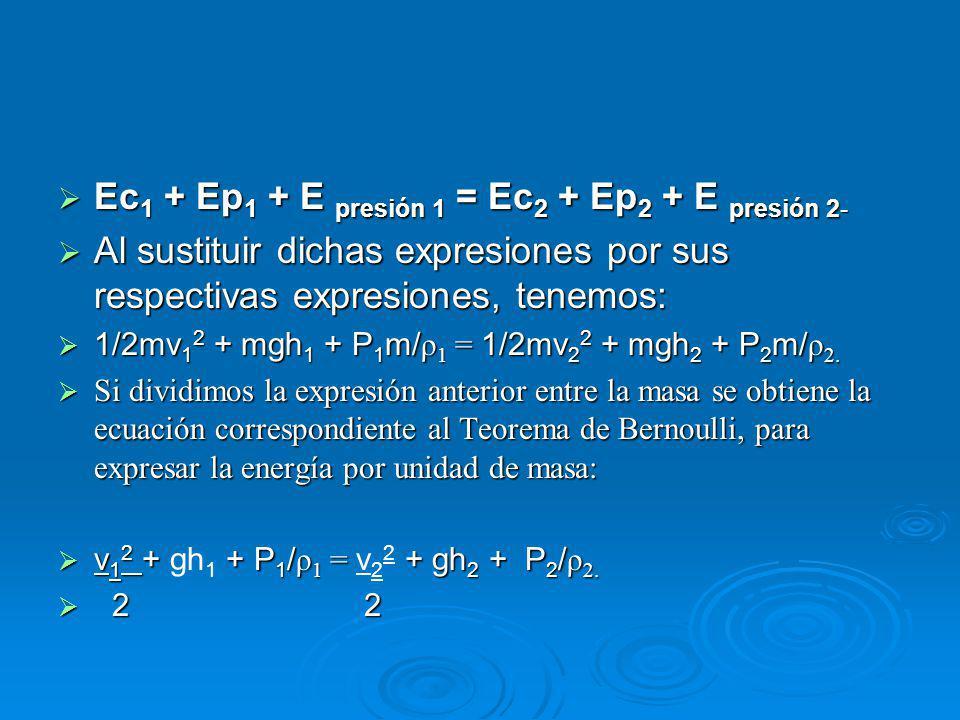 Ec 1 + Ep 1 + E presión 1 = Ec 2 + Ep 2 + E presión 2- Ec 1 + Ep 1 + E presión 1 = Ec 2 + Ep 2 + E presión 2- Al sustituir dichas expresiones por sus respectivas expresiones, tenemos: Al sustituir dichas expresiones por sus respectivas expresiones, tenemos: 1/2mv 1 2 + mgh 1 + P 1 m/ ρ 1 = 1/2mv 2 2 + mgh 2 + P 2 m/ ρ 2.