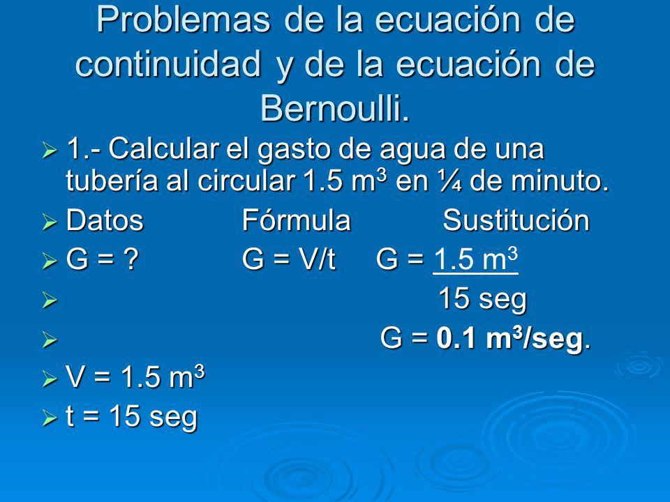 Problemas de la ecuación de continuidad y de la ecuación de Bernoulli.
