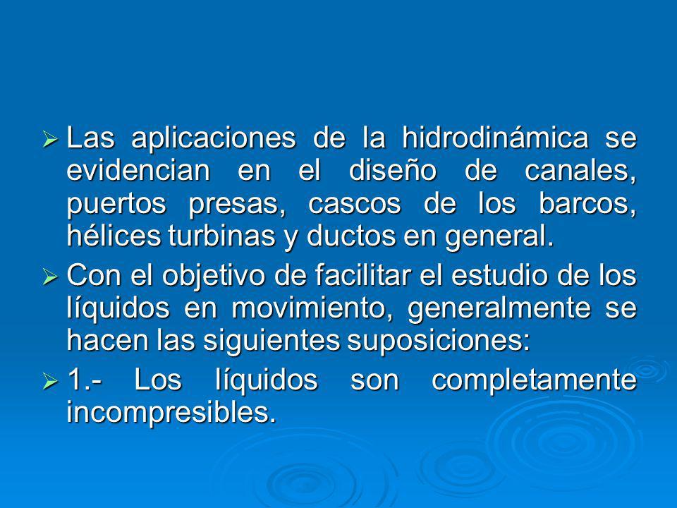 Las aplicaciones de la hidrodinámica se evidencian en el diseño de canales, puertos presas, cascos de los barcos, hélices turbinas y ductos en general.
