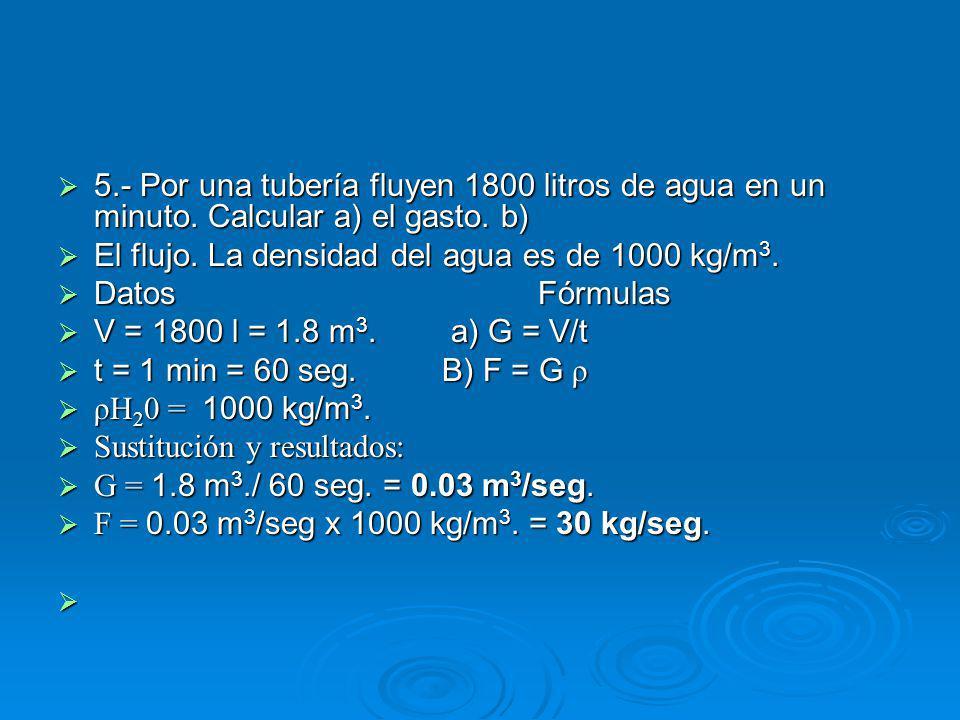 5.- Por una tubería fluyen 1800 litros de agua en un minuto.