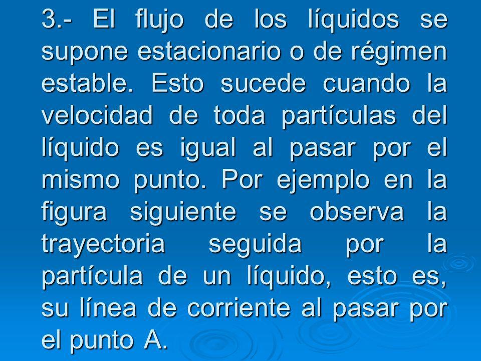 3.- El flujo de los líquidos se supone estacionario o de régimen estable.
