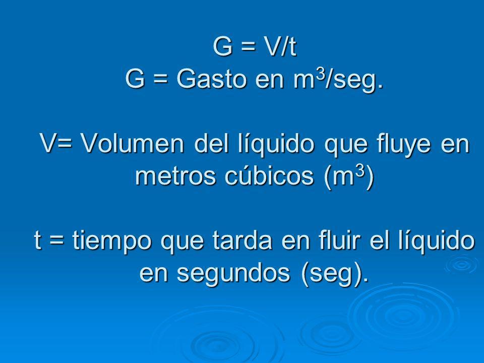 G = V/t G = Gasto en m 3 /seg.