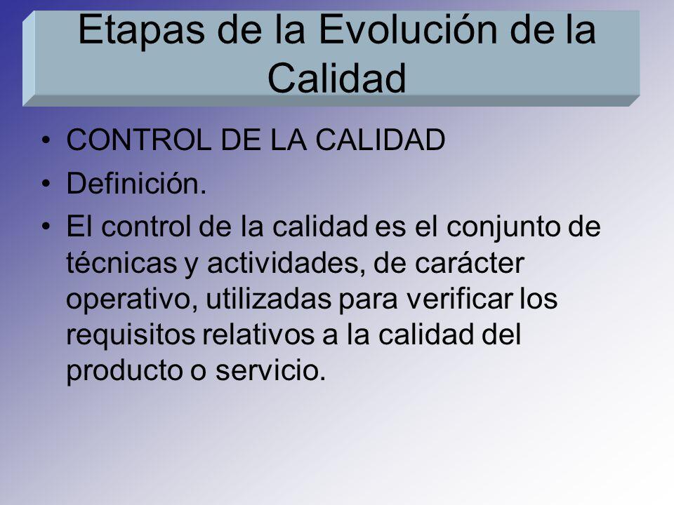 CONTROL DE LA CALIDAD Definición. El control de la calidad es el conjunto de técnicas y actividades, de carácter operativo, utilizadas para verificar
