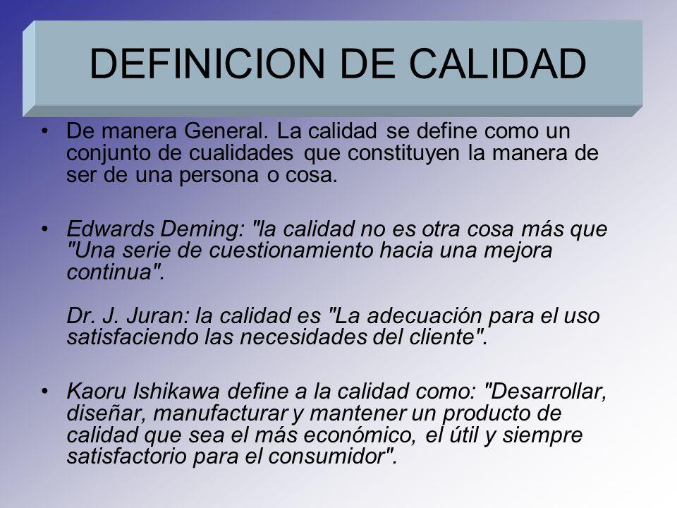 DEFINICION DE CALIDAD De manera General. La calidad se define como un conjunto de cualidades que constituyen la manera de ser de una persona o cosa. E