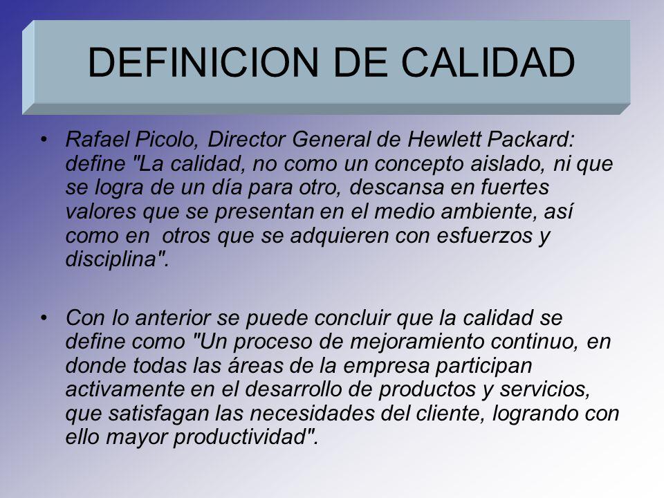 Rafael Picolo, Director General de Hewlett Packard: define La calidad, no como un concepto aislado, ni que se logra de un día para otro, descansa en fuertes valores que se presentan en el medio ambiente, así como en otros que se adquieren con esfuerzos y disciplina .