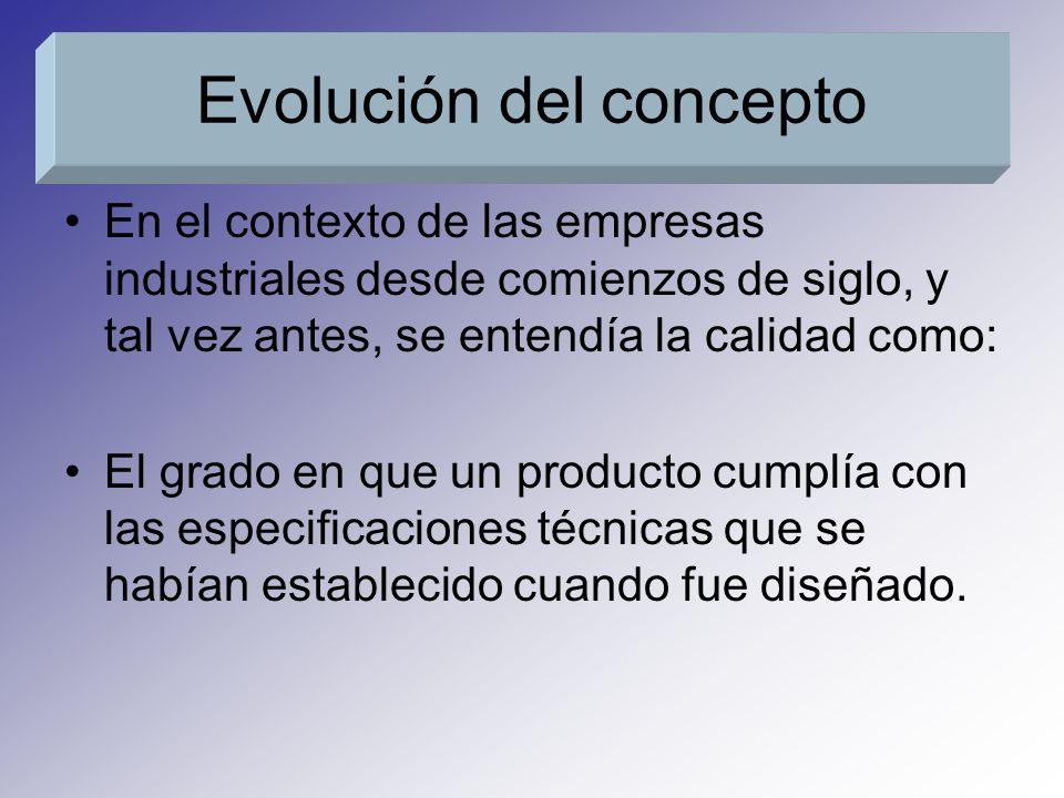 Posteriormente fue evolucionado el concepto de calidad, que la norma UNE 66-001 define como: La adecuación al uso del producto o, mas detalladamente, el conjunto de propiedades y características de un producto o servicio que le confieren su aptitud para satisfacer unas necesidades expresadas o implícitas Evolución del concepto