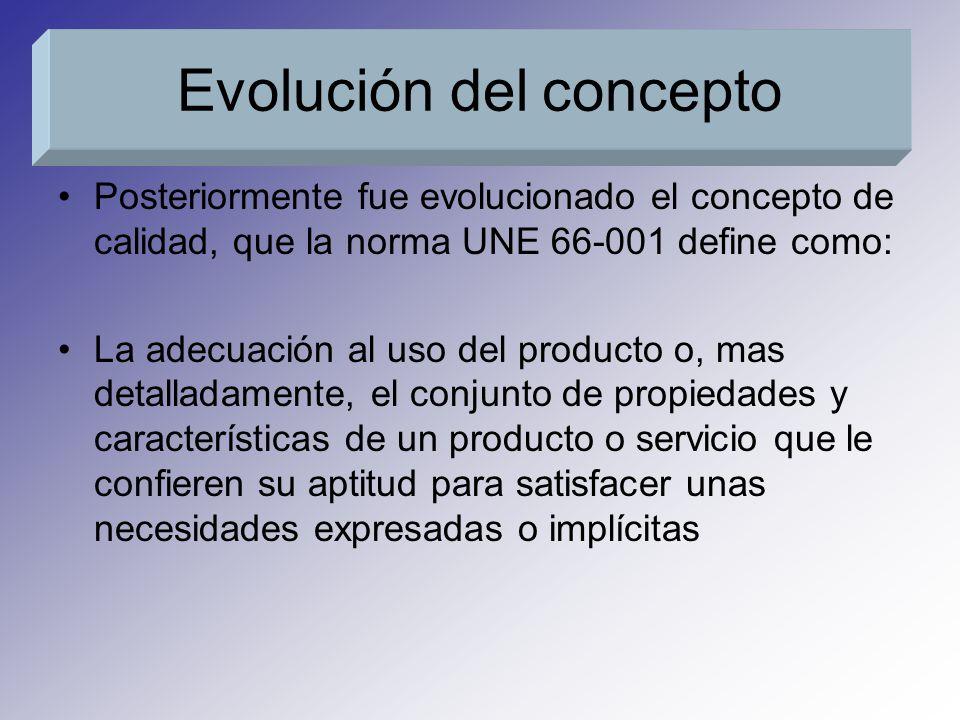 Posteriormente fue evolucionado el concepto de calidad, que la norma UNE 66-001 define como: La adecuación al uso del producto o, mas detalladamente,