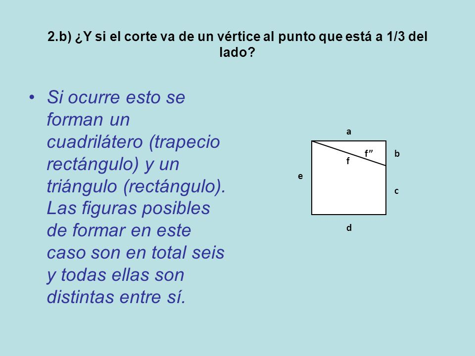 2.b) ¿Y si el corte va de un vértice al punto que está a 1/3 del lado.