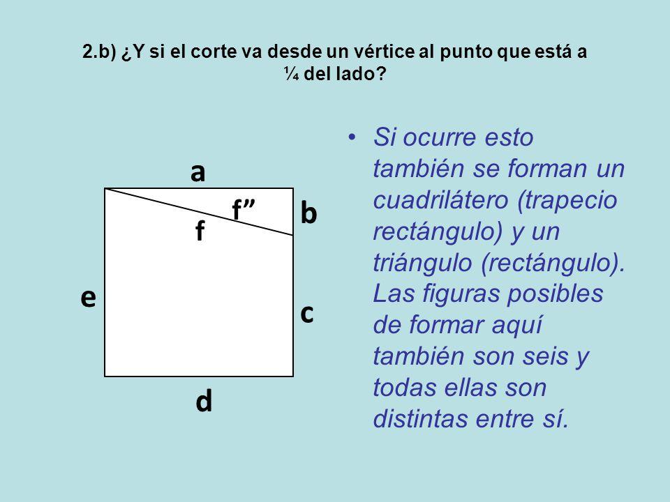 2.b) ¿Y si el corte va desde un vértice al punto que está a ¼ del lado.