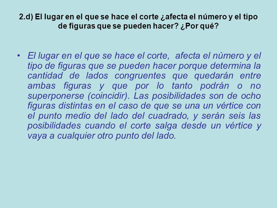 2.d) El lugar en el que se hace el corte ¿afecta el número y el tipo de figuras que se pueden hacer.