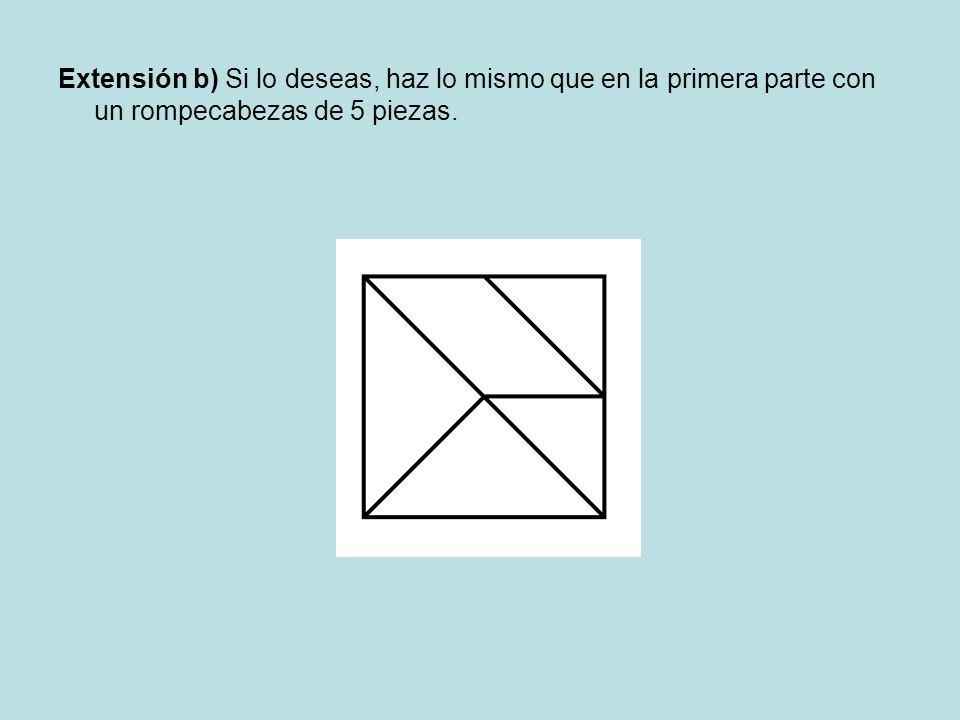 Extensión b) Si lo deseas, haz lo mismo que en la primera parte con un rompecabezas de 5 piezas.